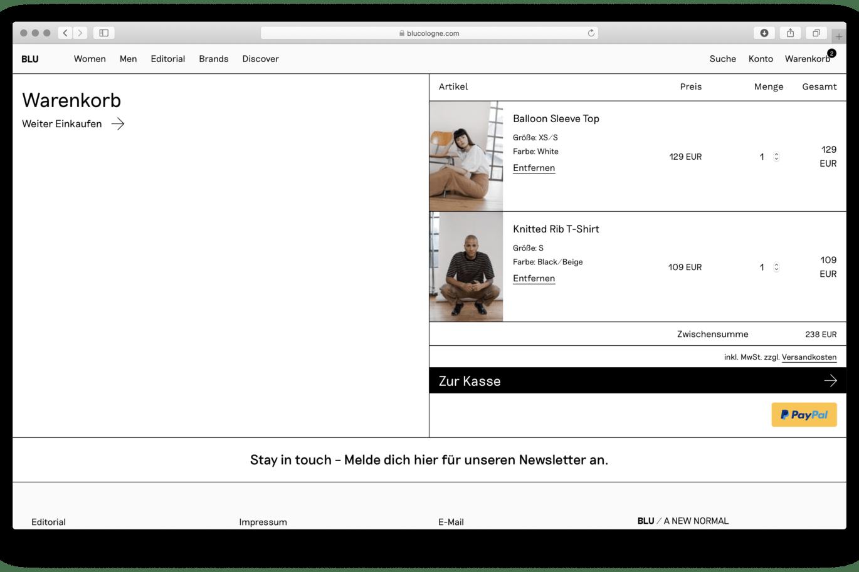 Webshop |Slowfashion | Shop |Cologne | Warenkorb