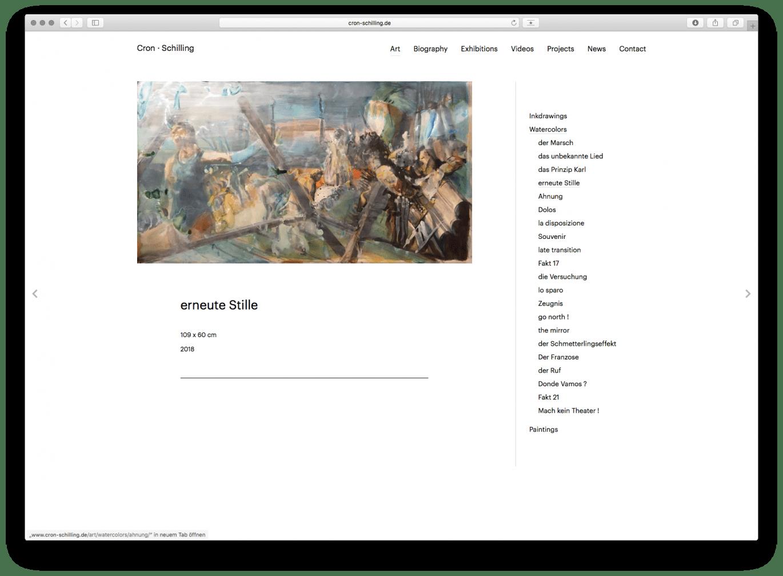 Webdesign | Detail | Künstler | Galerie | Online Design