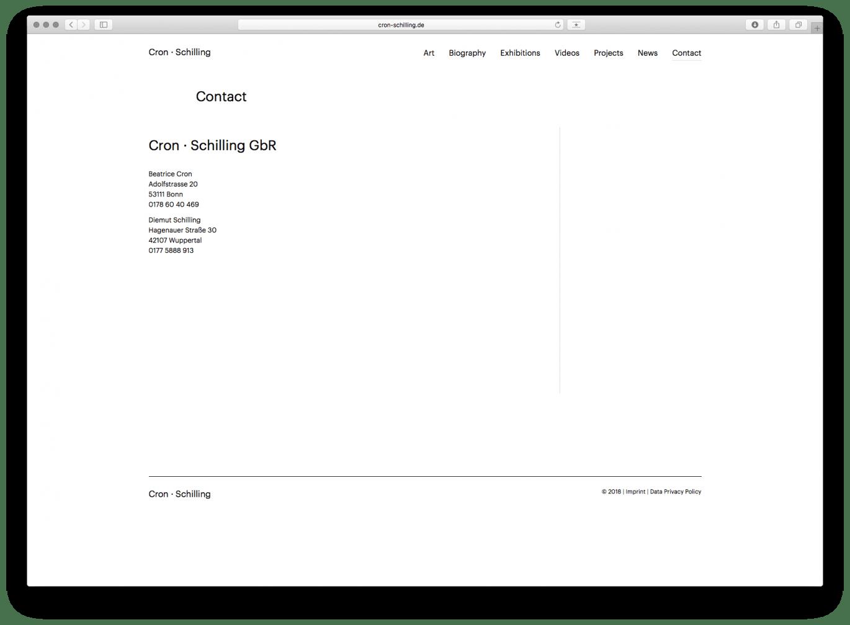 Webdesign | Desktop | Künstler | Kontakt | Online Design