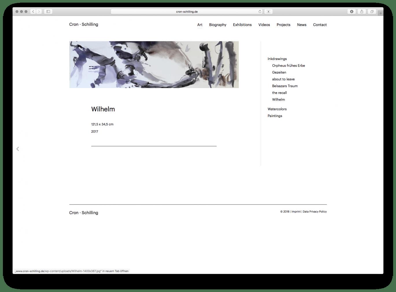 Webdesign | Desktop Ansicht | Künstler | Atelier | Online Design