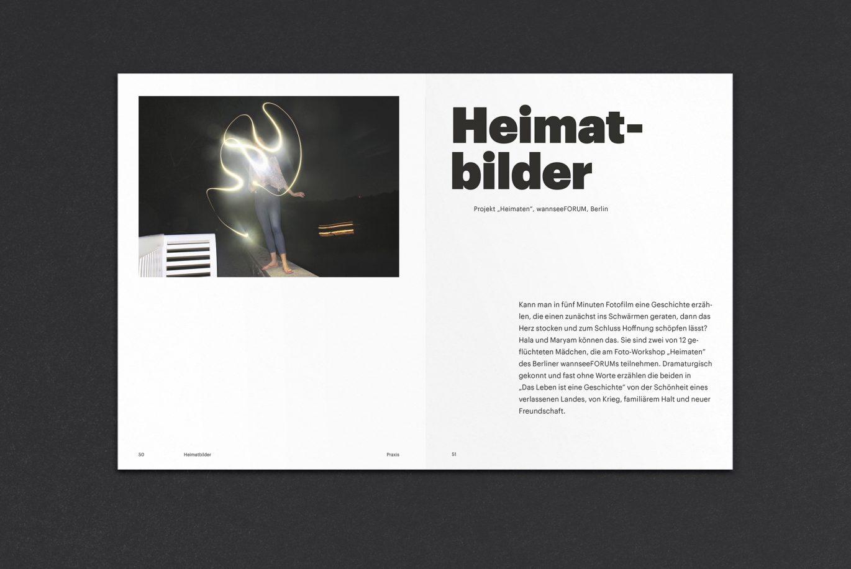 Innenseiten | Bild Textebene | Weißraum | Buchgestaltung | kulturelle Bildung