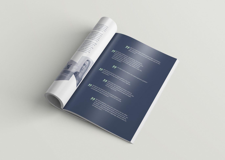Broschüre | Zitate | Gänsefüßchen | Negativschrift