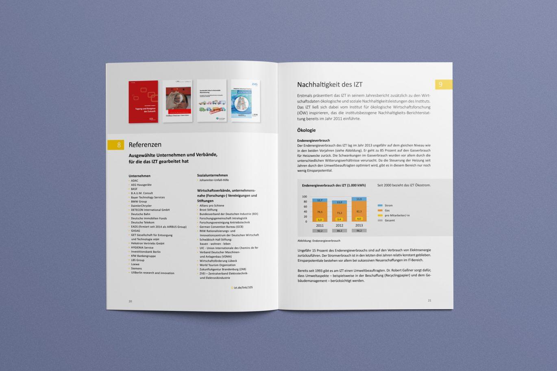 Doppelseite | Nachhaltigkeit | Gestaltungsprinzipien | Jahresbericht | Corporate Design | Offline- und Online Medien